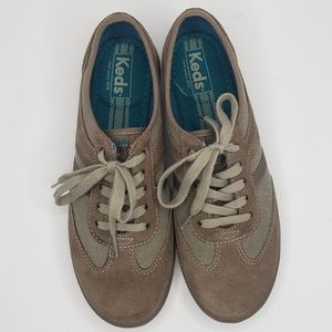 Keds Taupe Suede & Woven Canvas Sneakers Size 8